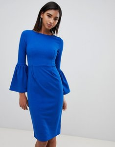 Read more about Club l pencil dress with extreme frill sleeve - cobalt blue