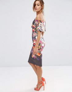 Read more about Asos deep fold off the shoulder floral midi pencil dress - multi