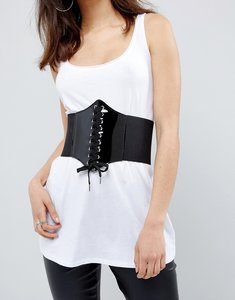 Read more about Asos patent wide elastic corset belt - black