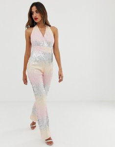 Read more about Tfnc halter neck jumpsuit in ombre sequin