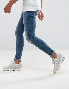 Read more about Asos extreme super skinny jeans in mid wash with rips and side stripe - mid wash blue