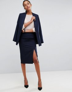 Read more about Asos mix match high waisted pencil skirt with split - navy