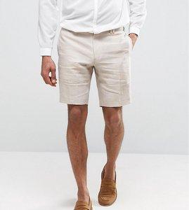 Read more about Noak skinny smart shorts in linen - beige