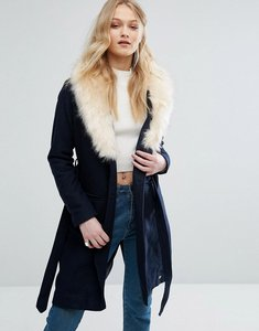 Read more about Bellfield belted wool blend coat with faux fur collar - navy