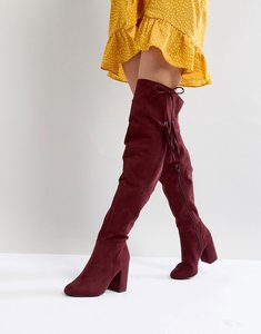Read more about New look tassel over the knee boot - burgundy