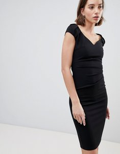 Read more about City goddess pleated midi dress - black
