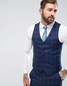 Read more about Harry brown skinny fit red overcheck waistcoat - blue