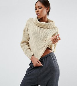 Read more about Daisy street tall roll neck knitted cropped jumper - oatmeal