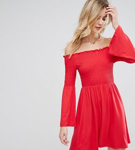Read more about Asos tall shirred bardot mini dress with trumpet sleeve - red