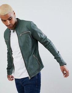 Read more about Goosecraft glasgow leather biker jacket in dark green - dark green