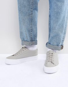 Read more about Asos lace up plimsolls in grey mesh with chunky sole - grey