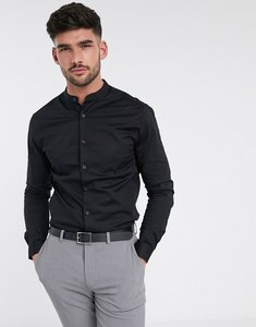 Read more about Asos design skinny shirt in black with grandad collar - black