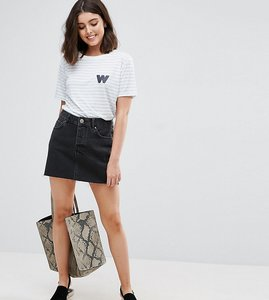 Read more about Asos petite denim low rise skirt in washed black - black