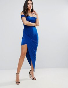 Read more about Club l bardot slinky dress with asymmetric hem - colbalt blue