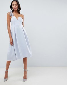 Read more about Asos design premium corsage strap prom midi dress - grey
