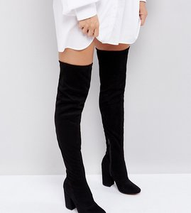 Read more about Asos katcher heeled over the knee boots - black