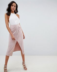 Read more about Asos design slinky jersey midi skirt with wrap front - nude
