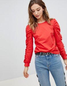 Read more about Miss selfridge ruched sleeve top - red