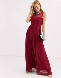 Read more about Lipsy ruched maxi dress with lace yolk and embellished neck in berry