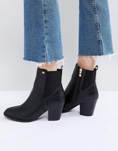 Read more about Glamorous black snake heeled ankle boots - black