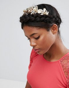 Read more about Asos premium occasion jewel leaf vine headband - gold