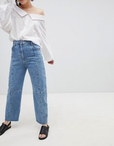 Read more about Asos design florence authentic engineered straight leg jeans in mid vintage wash blue - mid wash blu