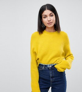 Read more about Asos design tall fluffy jumper in rib - piccalili yellow