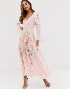 Read more about Asos design embroidered wrap maxi dress with long sleeves
