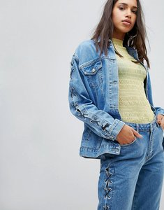 Read more about Chorus lace up sleeves oversized denim jacket - worn indigo