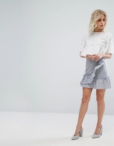 Read more about Miss selfridge stripe ruffle front mini skirt - stripe