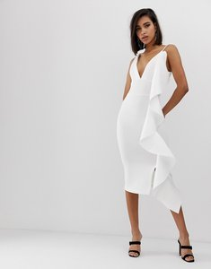 Read more about Lavish alice scuba v midi dress with sculpted frill detail in white