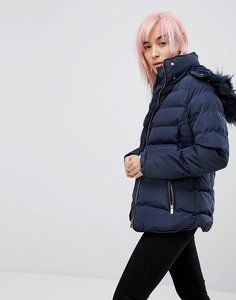 Read more about Qed london padded jacket with hood - navy