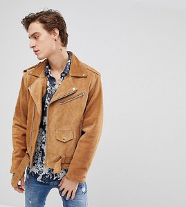 Read more about Reclaimed vintage inspired real suede biker jacket - tan