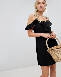 Read more about Lunik cold shoulder ruffle mini dress - black