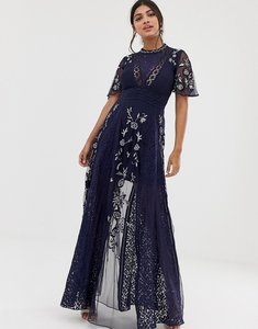 Read more about Amelia rose embroidered lace front maxi dress with panel inserts in navy