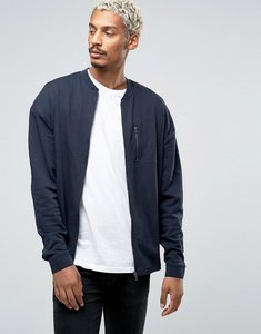 Read more about Asos oversized jersey bomber jacket with zip chest pocket - navy