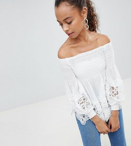 Read more about Parisian petite off shoulder shirred detail top with crochet hem - white