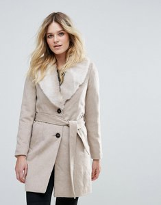 Read more about Vero moda faux fur trimmed belted jacket - moon rock