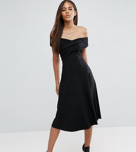 Read more about Asos tall midi skater dress with bardot neckline - black