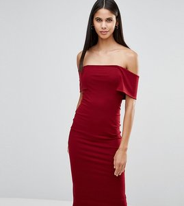 Read more about Asos tall deep off the shoulder bardot midi bodycon dress - oxblood