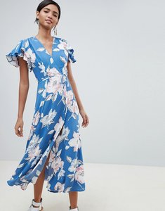 Read more about French connection floral wrap midi dress - vintage blue