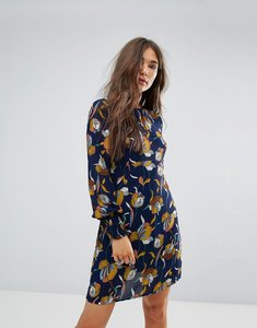 Read more about Traffic people bell sleeve floral print dress - navy