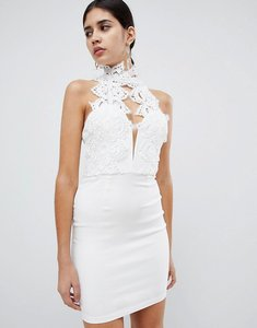 Read more about Rare london high neck plunge lace mini dress - white