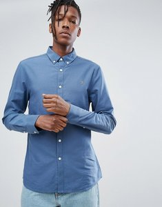 Read more about Farah brewer slim fit oxford shirt in blue - 428 prussian blue