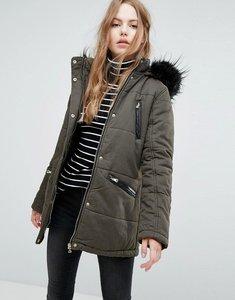 Read more about New look faux fur trim parka coat - khaki