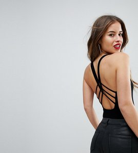 Read more about Asos petite body in rib with cage back and square neck - black