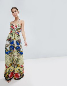 Read more about Asos design jumpsuit with twist front in floral tile print - multi