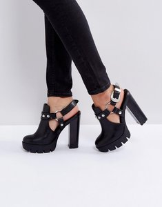 Read more about Asos olga western platform shoes - black pu