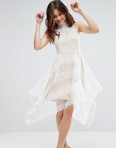 Read more about Girl in mind high neck crochet hanky hem skater dress - white