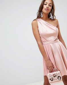 Read more about Asos design satin half pleated cut out one shoulder mini dress - nude
